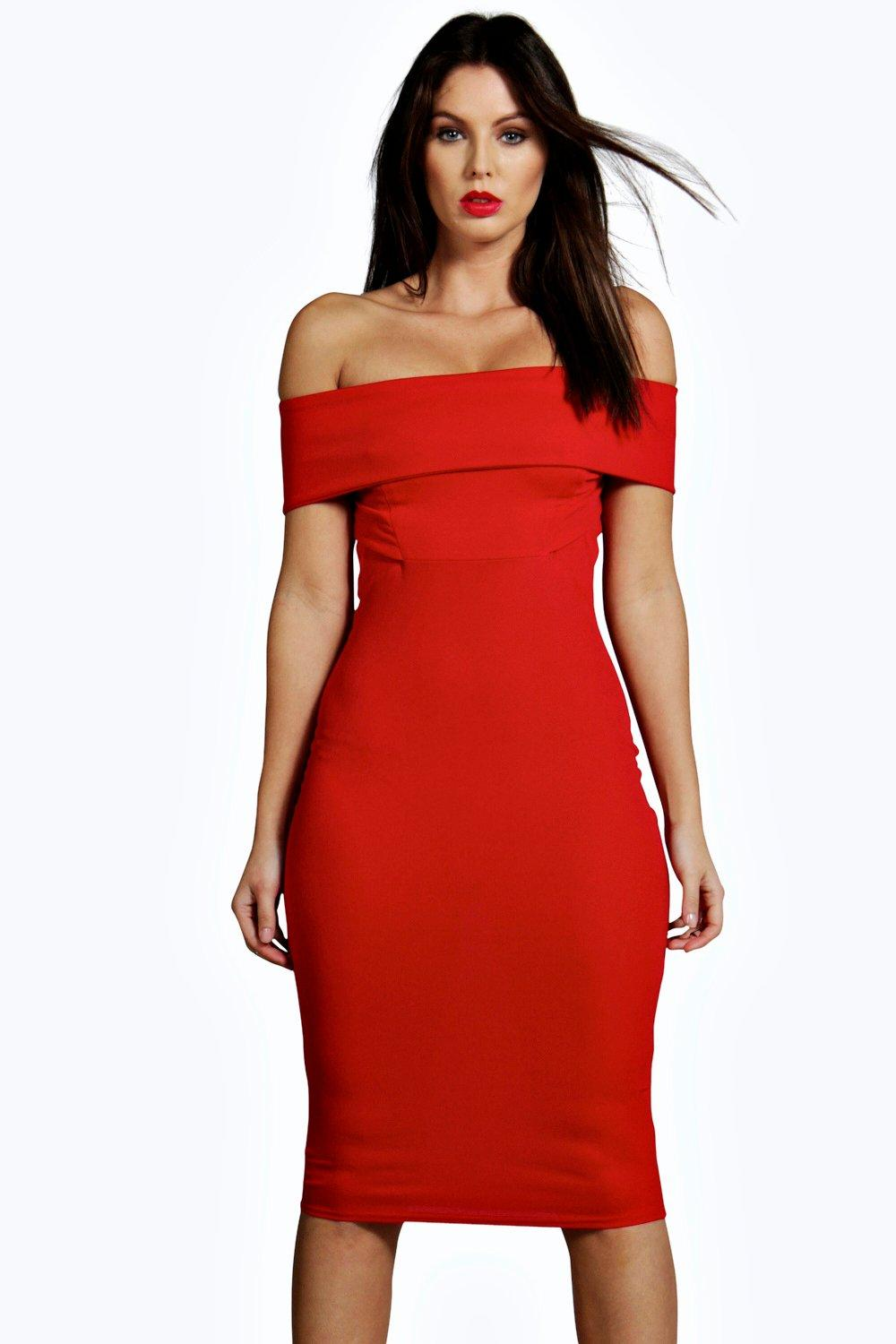 Indie Off The Shoulder Midi Bodycon Dress
