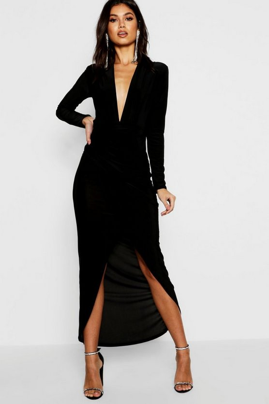 Anoush Plunge Rouched Detail Maxi Dress