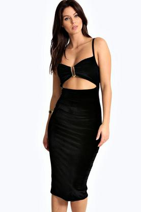 Alessia Velvet Strappy Cut Out Waist Midi Dress