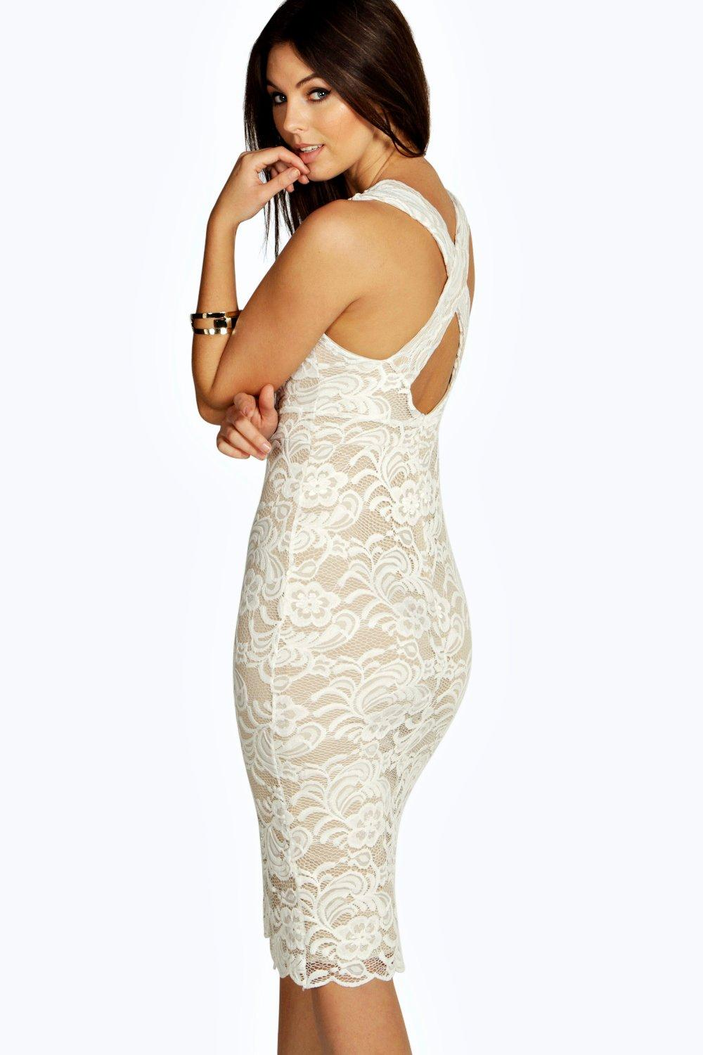 Iona Lace Plunge Cross Back Midi Dress
