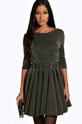 Freya Metallic Pleated Skirt Low Back Skater Dress