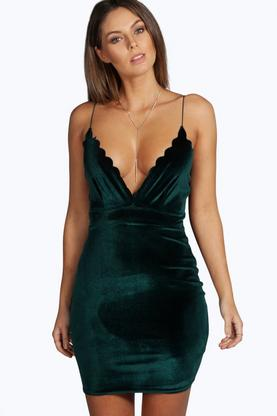 Hannah Velvet Scallop Edge Bodycon Dress