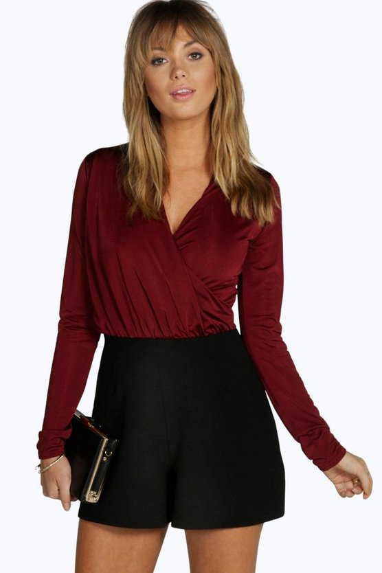 Sophia Slinky Top Wrap Playsuit