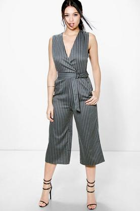 Kellie Pinstripe D Ring Belted Culotte Jumpsuit