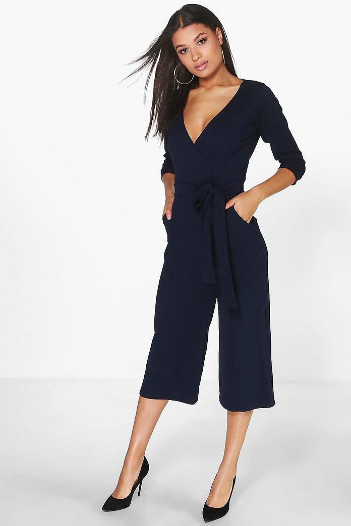 Jenny Roll Sleeve Relaxed Culotte Jumpsuit