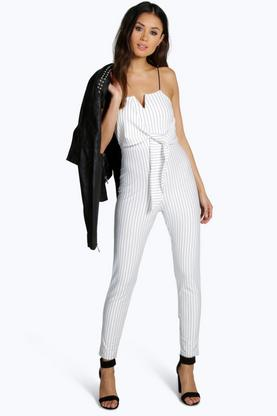 Leila Pinstripe Tailored Jumpsuit