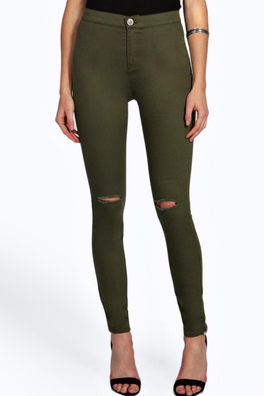 Ripped Knee Tube Jeans  khaki