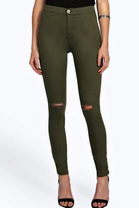 Lara Ripped Knee Tube Jeans
