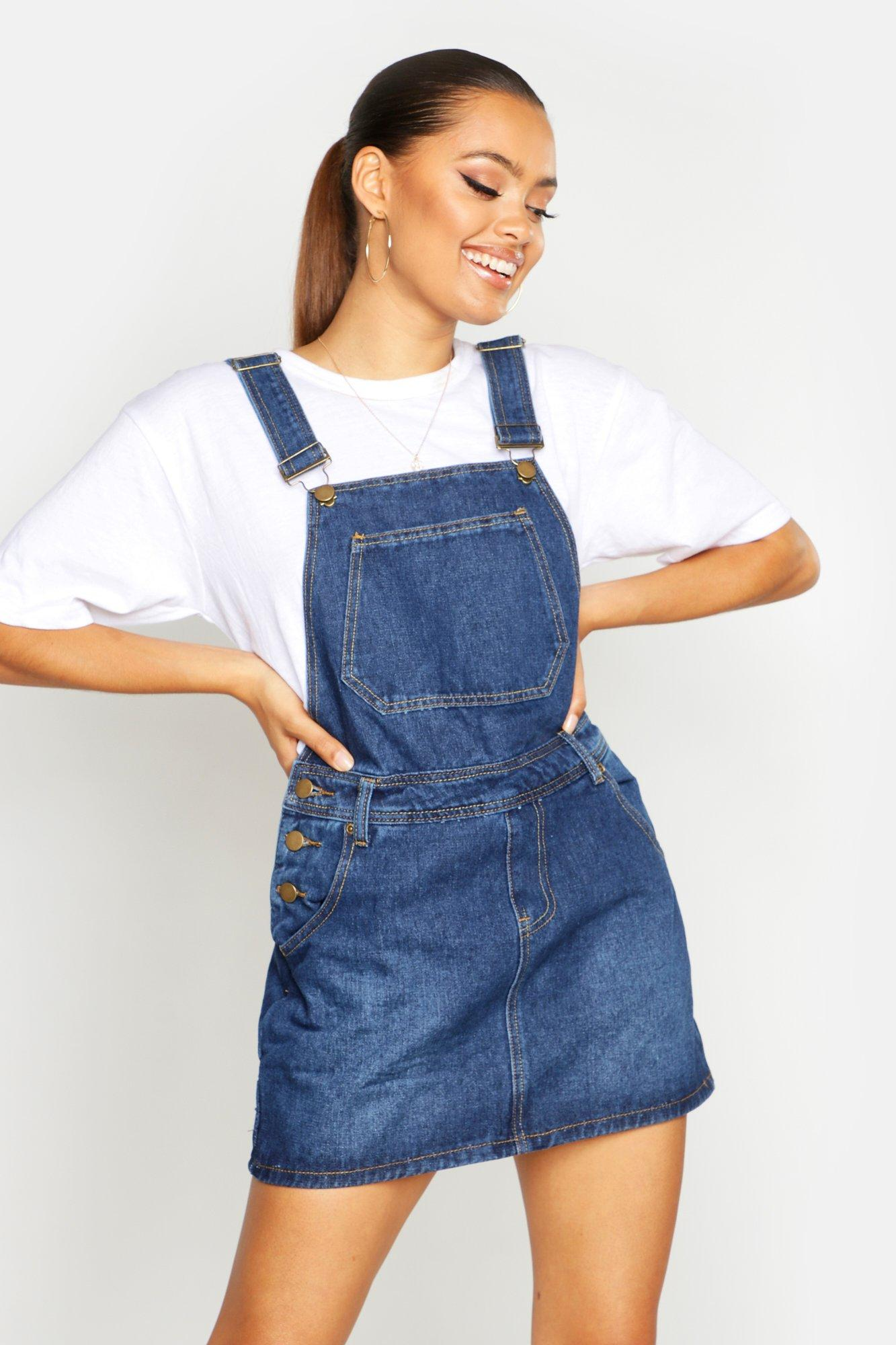 Denim Dungaree Pinafore Dress  blue