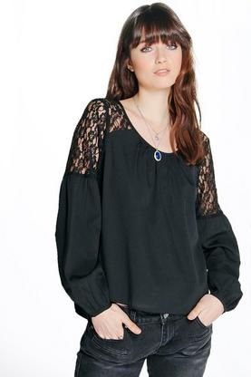 Darcey Lace Panel Woven Blouse
