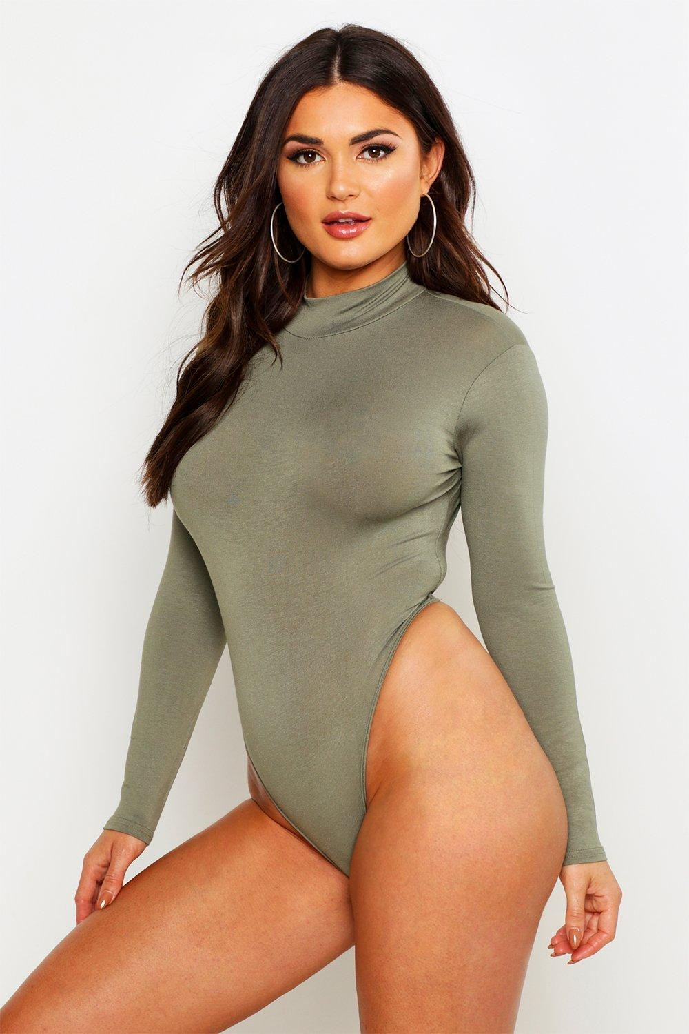 Turtle Neck Long Sleeve Basic Body  khaki