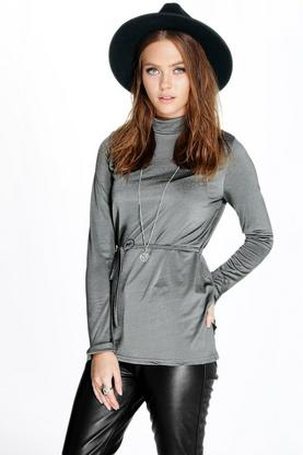 Ruby High Neck Belted L/S Top