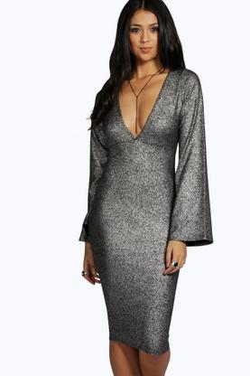 Jess Metallic Sparkle Plunge Neck Bodycon Dress