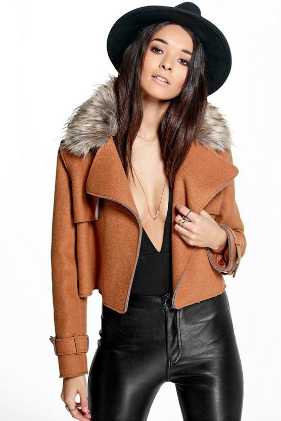 Boutique Anya Crop Coat With Faux Fur Collar