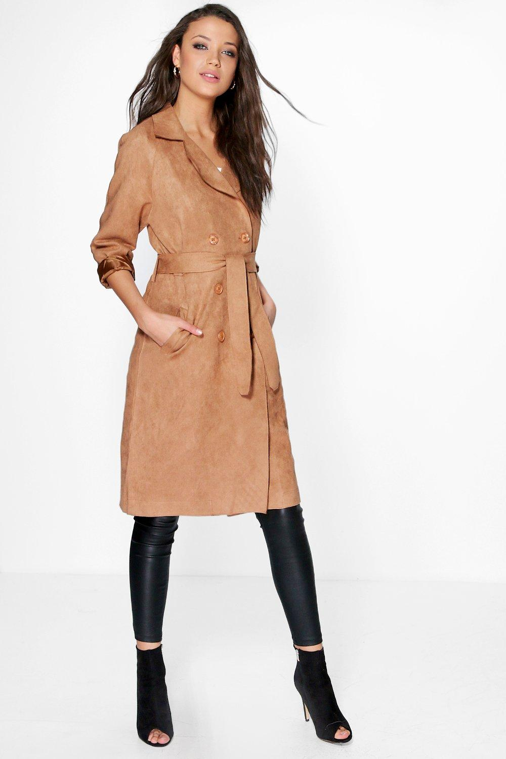 Elise Bonded Suedette Trench