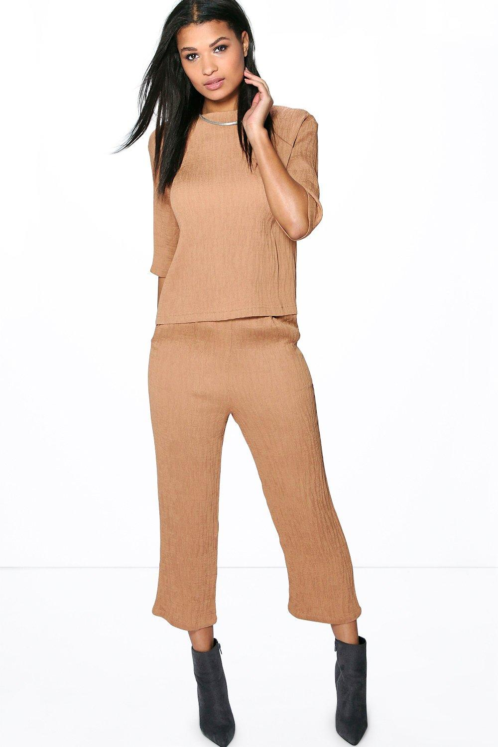 Product photo of Laila crinkle tapered trouser camel