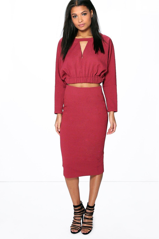 boutique eloise split front textured pencil skirt at