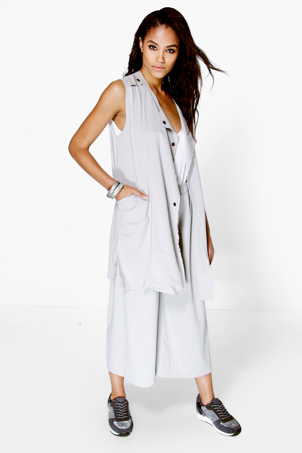 Mollie Scuba Crepe Sleeveless Duster
