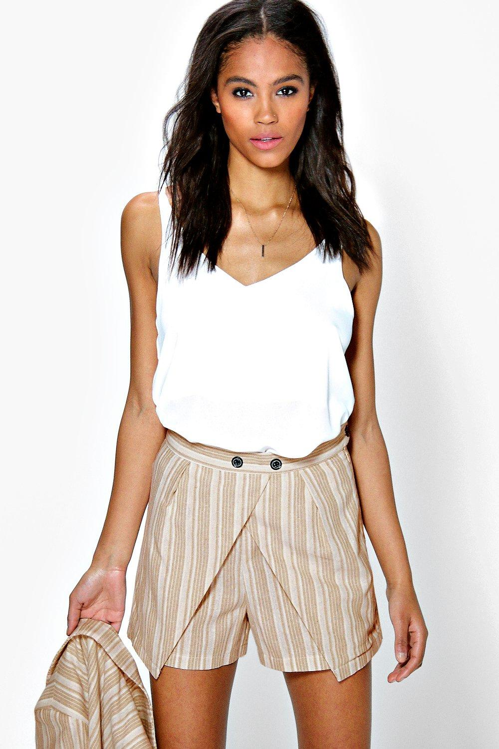 Boutique Iris Stripe Cross Front Short
