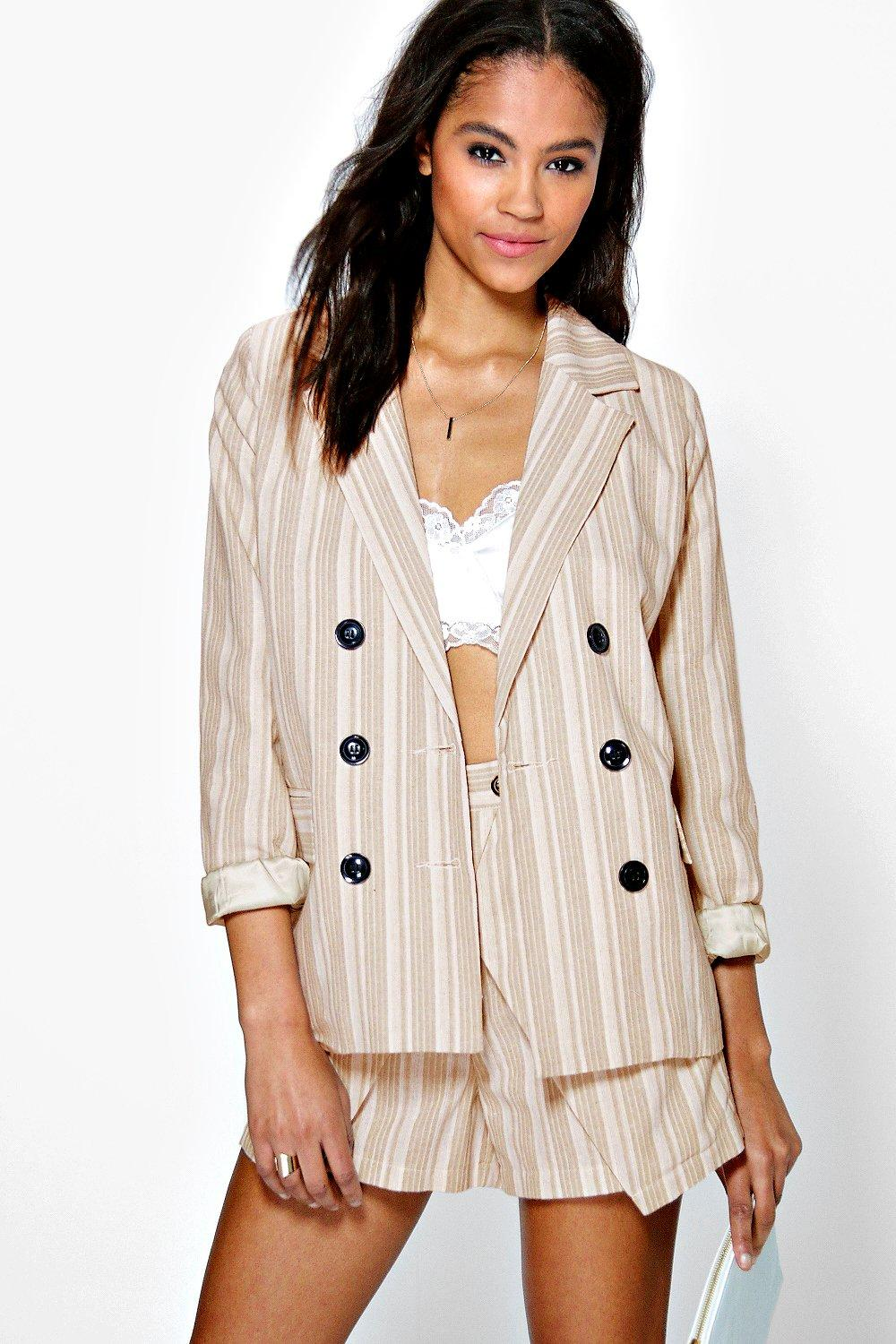 Boutique Iris Stripe Linen Double Breasted Blazer