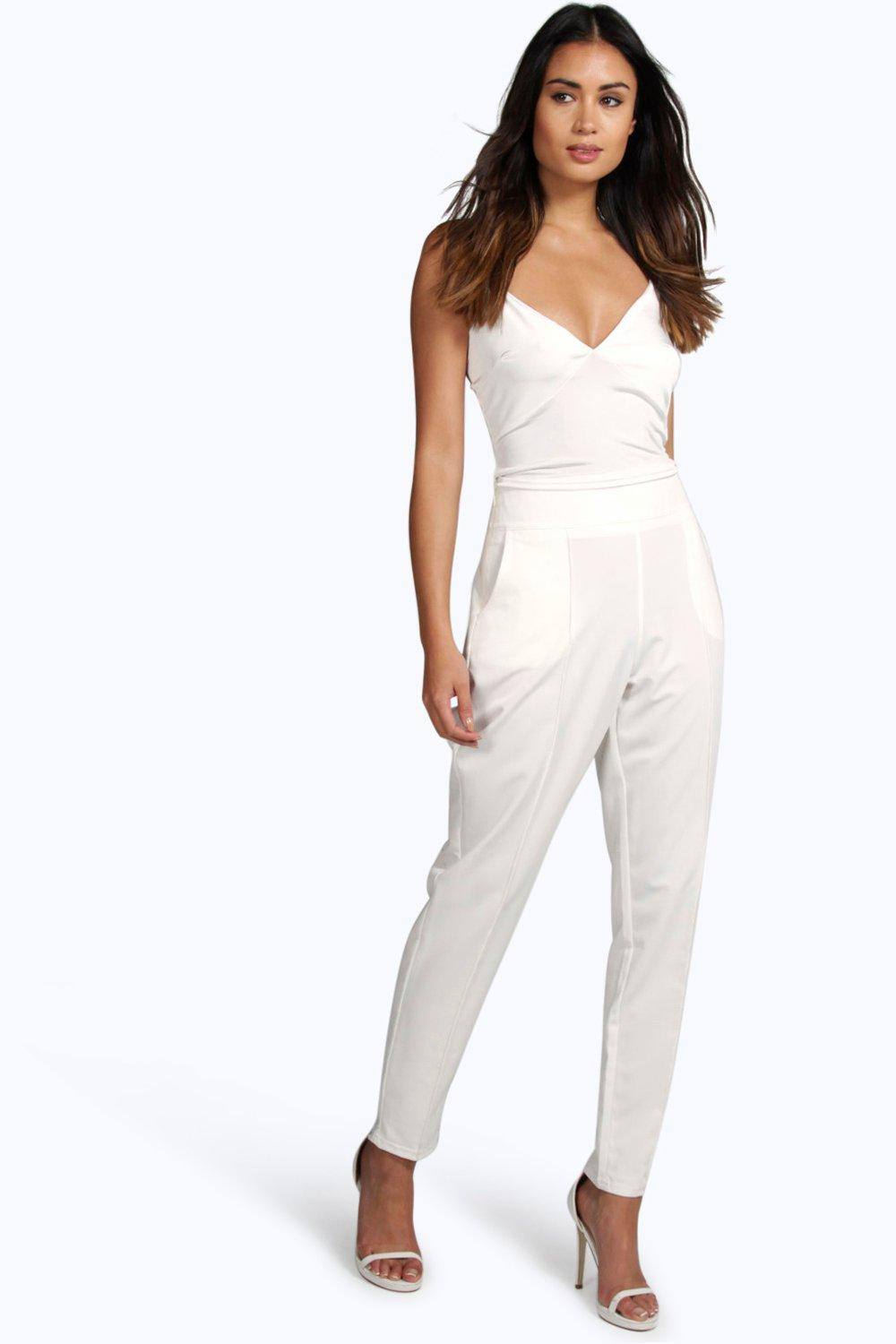 Farah High Waist Pin Tuck Tailored Trousers