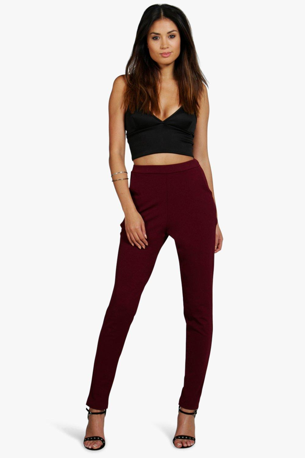 Scuba Skinny Pocket Trouser berry