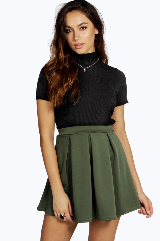 Scuba Box Pleat Skater Skirt  khaki