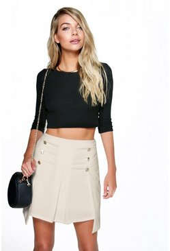Bex Button Front Pelmet Side A Line Mini Skirt