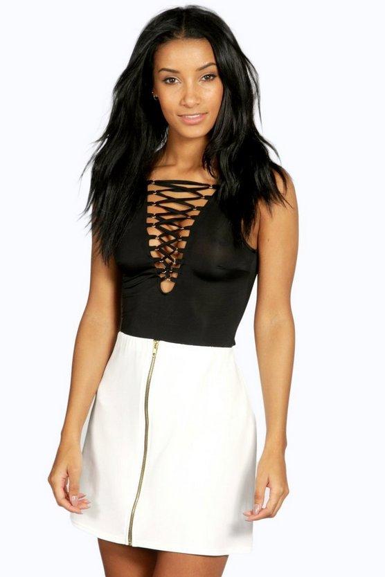 Louella Scuba Zip Front A Line Mini Skirt | Boohoo