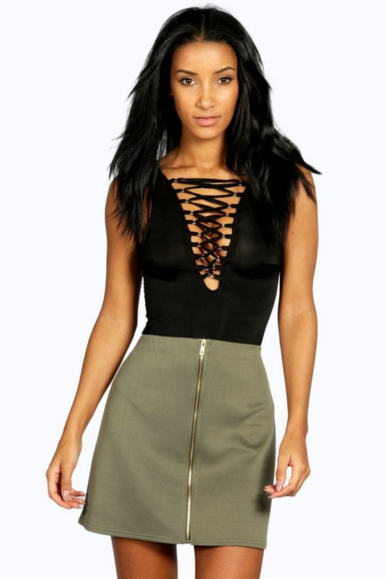 Scuba Zip Front A Line Mini Skirt