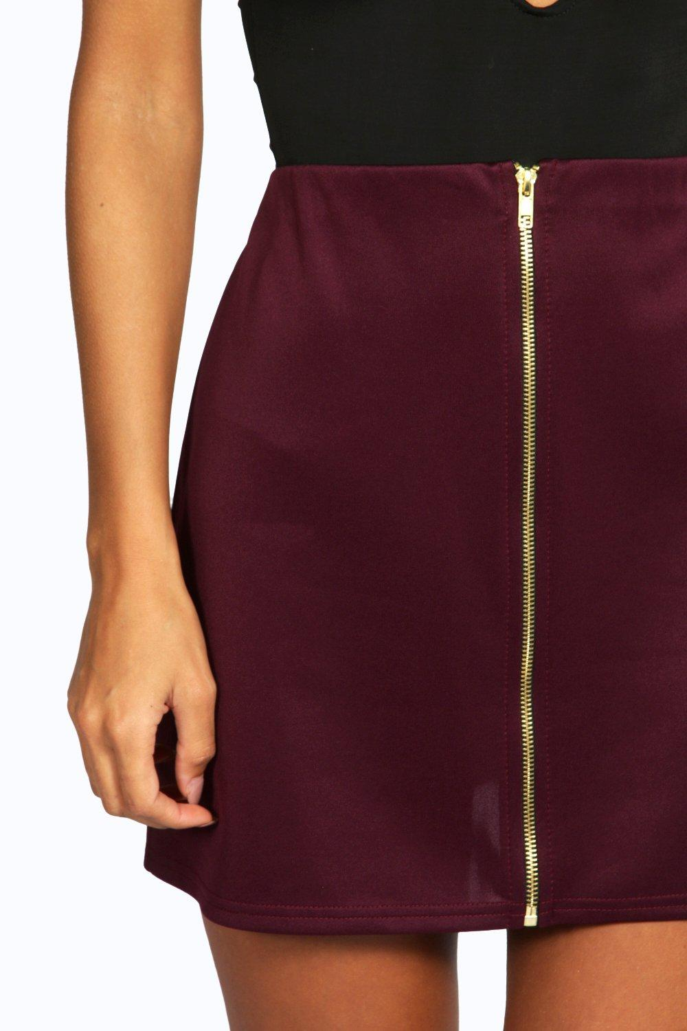 Louella Scuba Zip Front A Line Mini Skirt at boohoo.com