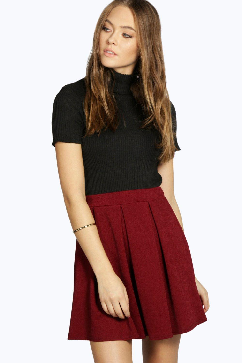 Crepe Box Pleat Skater Skirt berry
