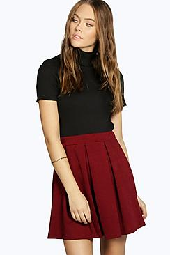 Avah Crepe Box Pleat Skater Skirt