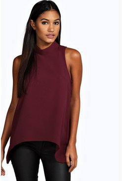 Laura Woven High Neck Swing Top