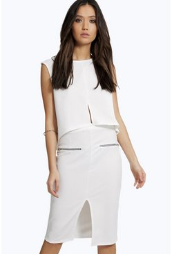 Anna Split Front Zip Midi Skirt