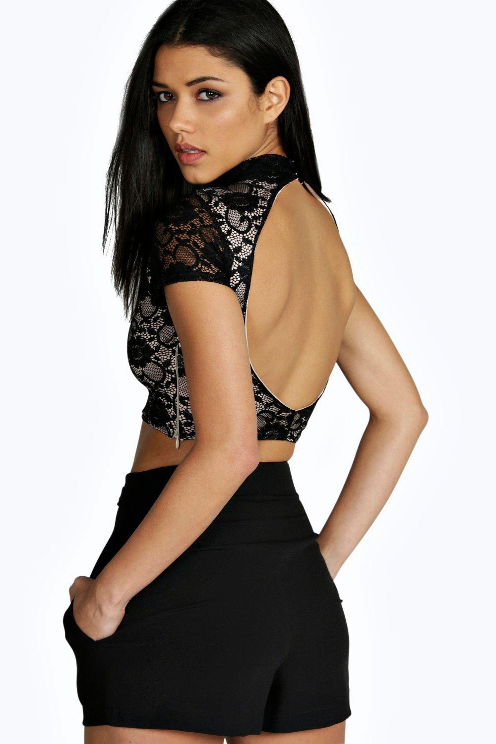 Marie High Neck Open Back Lace Top