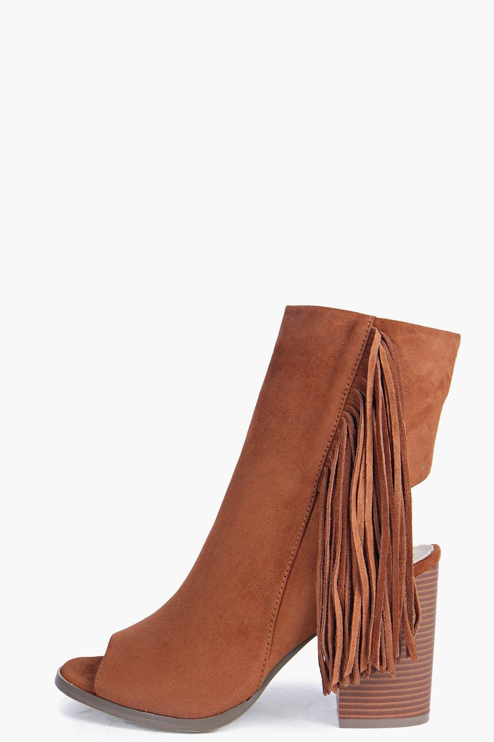 Rose Tassel Side Peeptoe Shoe Boot