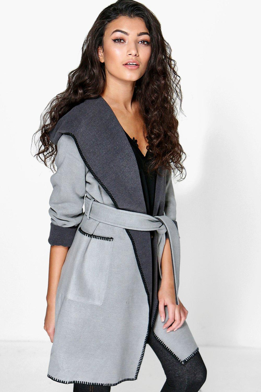 Tracy Shawl Collar Wool Look Duster Coat