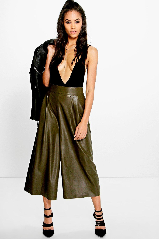 Lila Leather Look Culotte khaki
