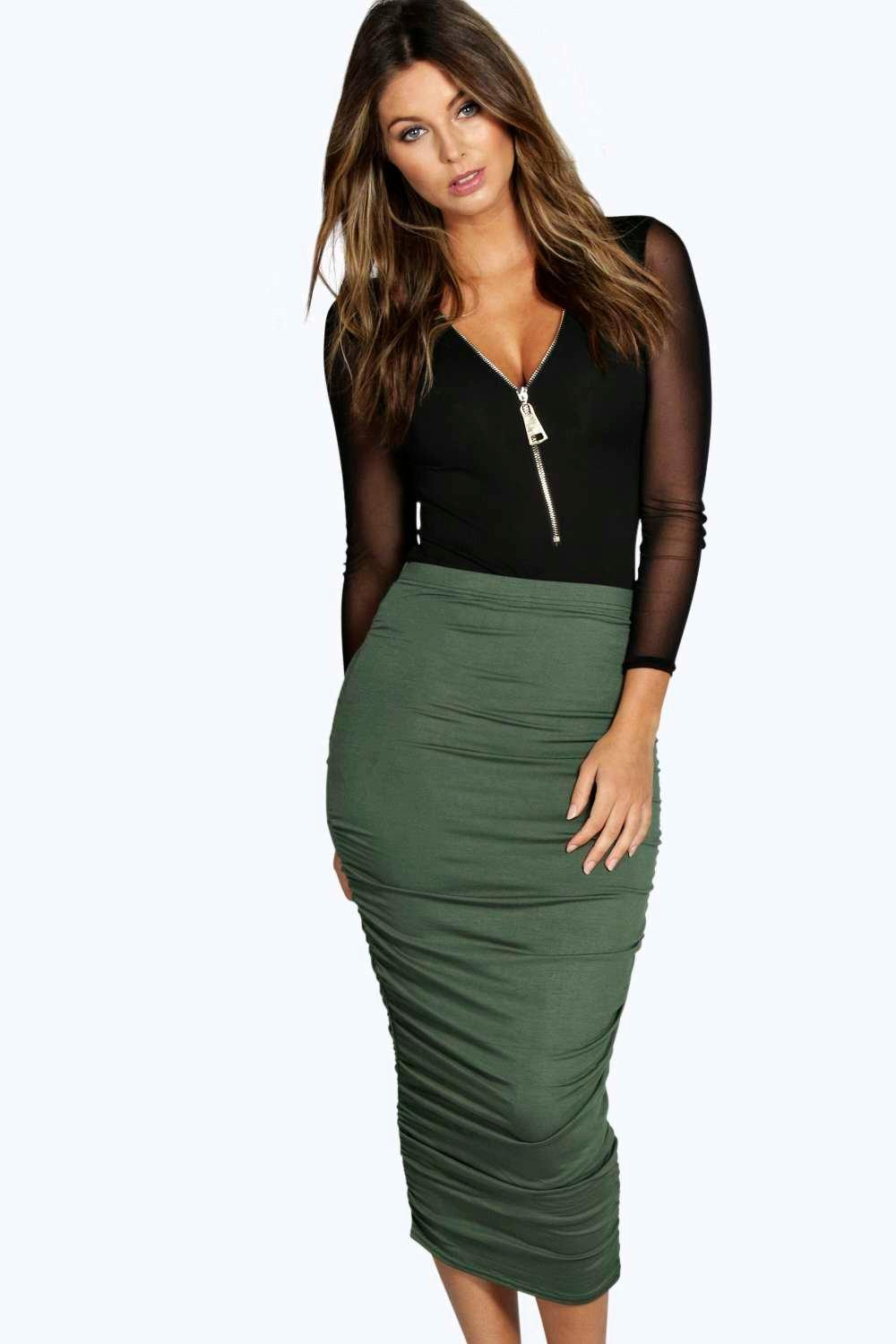 Steph Rouched Side Jersey Midi Skirt