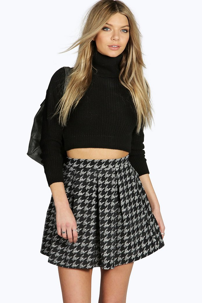 Amarah Crepe Dogtooth Box Pleat Skater Skirt