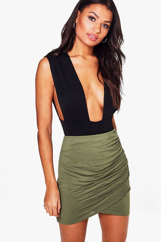 Rouched Wrap Mini Skirt  khaki