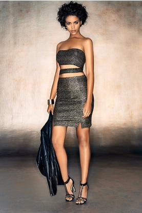 Cara Metallic Bandeau Mini Skirt Co-Ord Set