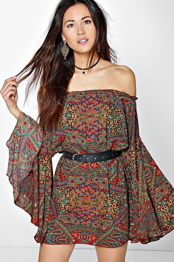 Marsa Wide Sleeve Off The Shoulder Dress