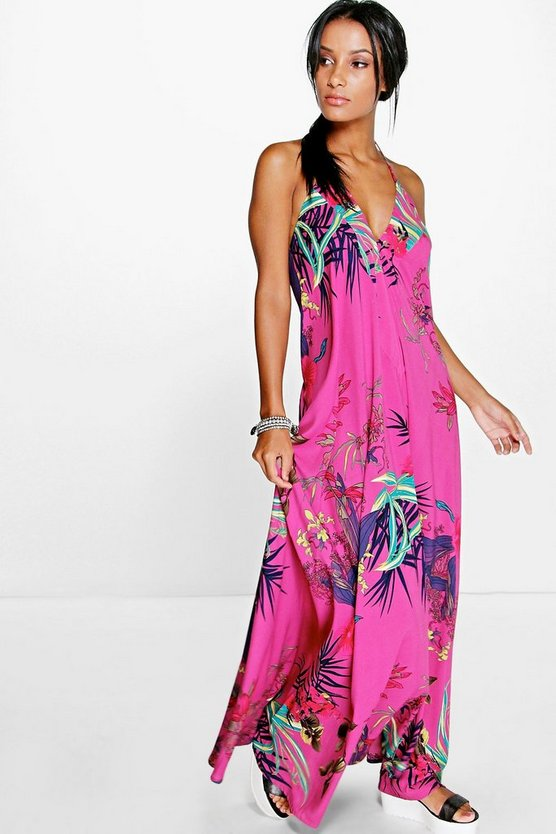 Inna Tropical Halter Maxi Dress