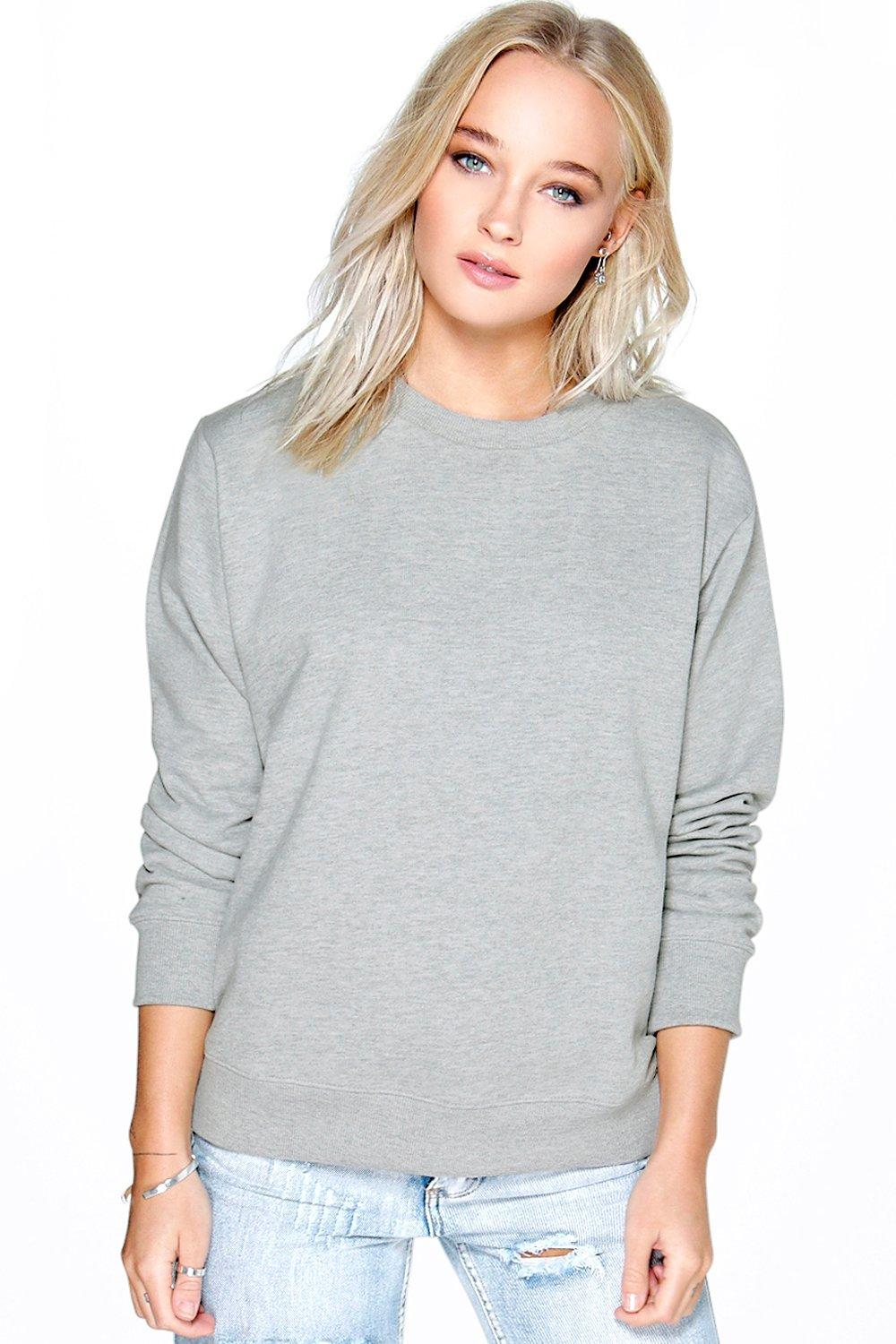 Crew Neck Sweat Shirt  grey marl