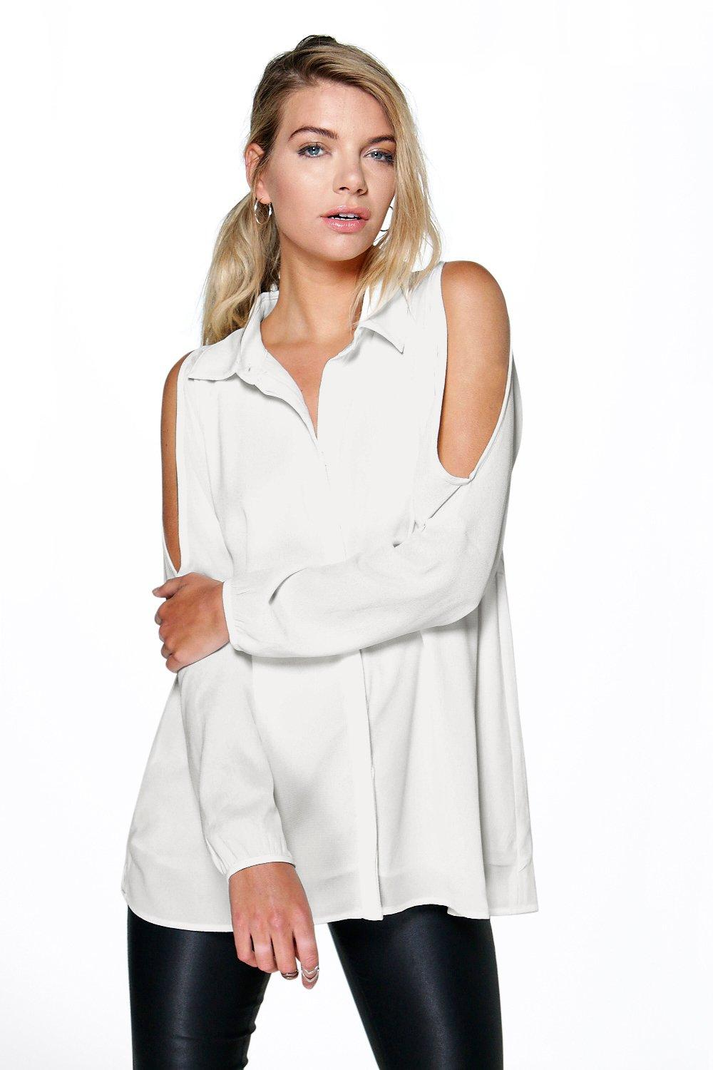 Sadie Woven Cold Shoulder Shirt