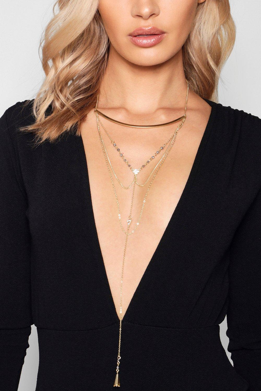 Faye Skinny Bar Statement Plunge Necklace