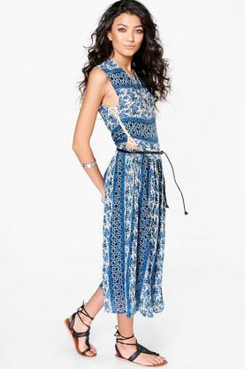 Shayna Paisley Lace Up Side Midi Dress