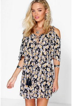 Rachel Floral Lace Up Tassel Open Shoulder Dress